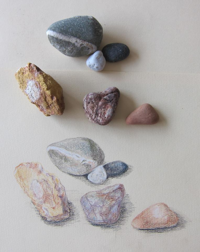 stenen tekenen tekening natuur natuurgetrouw potlood potloodtekening