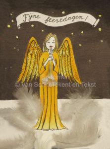 kerstengel engel kerstkaart fijne feestdagen