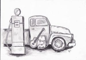 truck vrachtwagen gitaar benzinepomp guitar on the road gasstation
