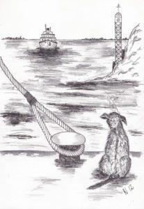 Dog ship hond schip zee sea hello goodbye