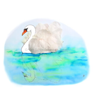 bird swan vogel zwaan rozenblaadjes rose petals ansichtkaart postcard