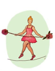 Circus Koorddanseres balance tightrope walker clover nostalgisch nostalgic