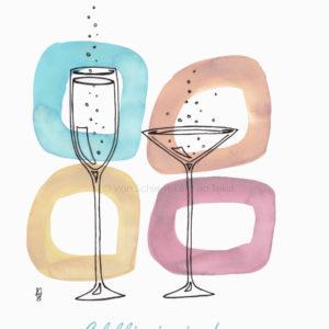 Kerstkaart kerst champagne bubbels