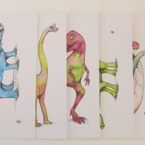 Set van 6 dinosauruskaarten