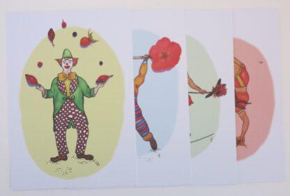 Set van 4 circuskaarten