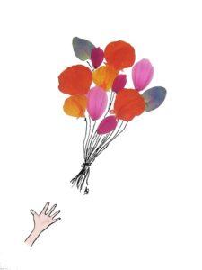 ansichtkaart postcard ballonnen balloons flower petals bloemblaadjes hand verjaardag verjaardagskaart birthday card
