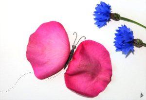 ansichtkaart postcard butterfly vlinder korenbloem flower petals bloemblaadjes roos rose