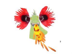ansichtkaart postcard draak dragon flower petals bloemblaadjes