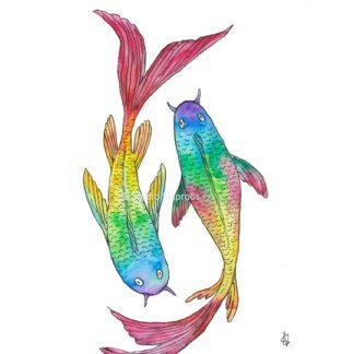 Koi karpers carps regenboog rainbos fish vissen
