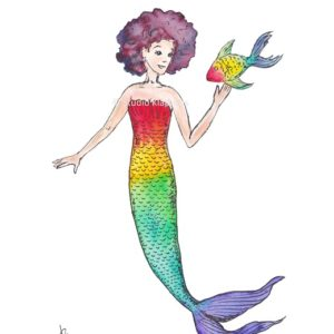 zeemeermin mermaid regenboog rainbow postcard kaart