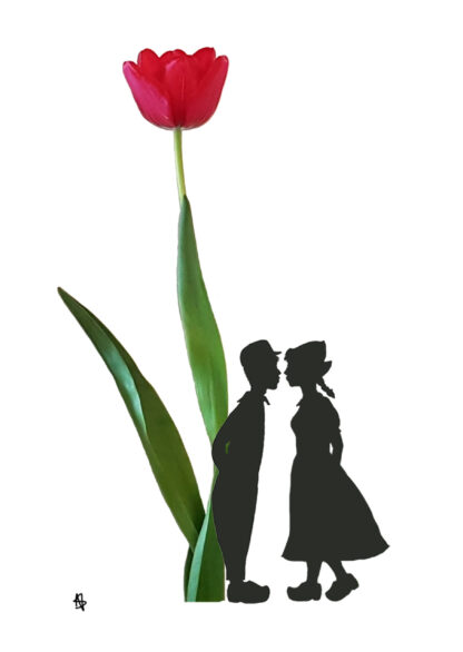 tulip tulp ansichtkaart farmercouple kissing postcard typical dutch hollands