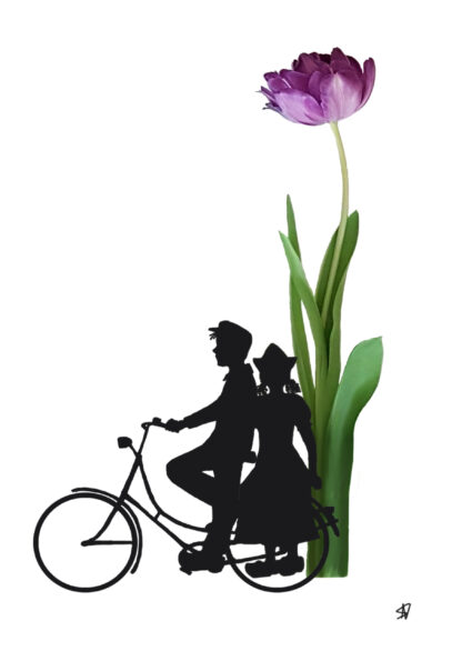 fiets tulip tulp dutch farmercouple bicycle postcard ansichtkaart typical dutch hollands