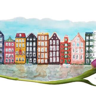 tulip tulp ansichtkaart amsterdamse grachten canal houses typical dutch hollands