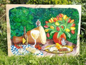 schilderij painting bird djembe tulips tulpen kaas mus bier beer westmalle