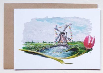 ansichtkaart tulpen tulip holland postcard molen windmill