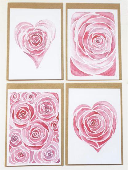 set rose roos love liefde ansichtkaart postcard