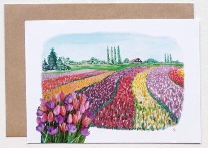 bulbfield bollenveld ansichtkaart tulpen tulips tulip holland postcard typical dutch