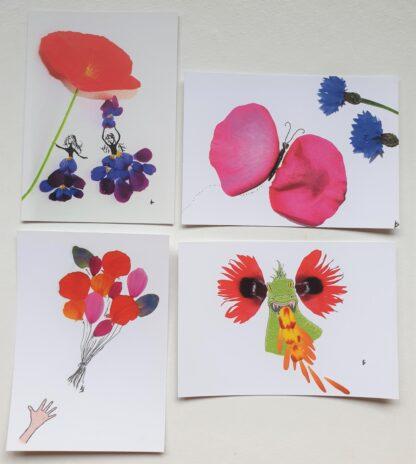ansichtkaart postcard set flowerpetals bloemen vlinder draak meisjes ballonnen balloons dragon girls butterfly