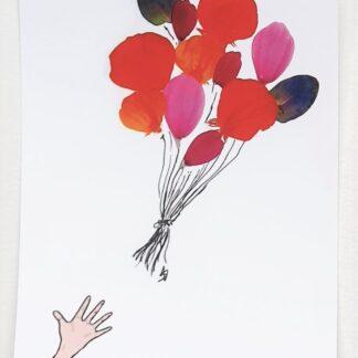 ansichtkaart postcard ballon balloon petals bloemblaadjes