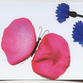 ansichtkaart postcard rosepetals roos vlinder butterfly korenbloem cornflower