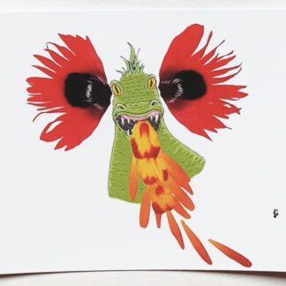 draak dragon bloemen ansichtkaart postcard petals