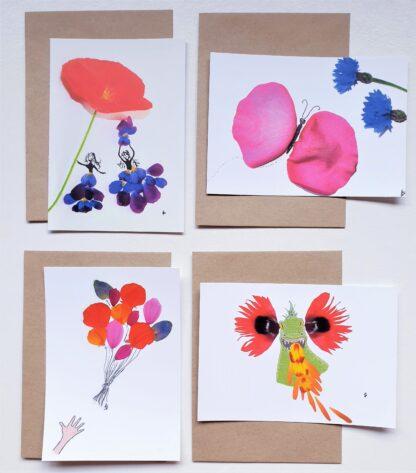 ansichtkaart postcard meisjes girls butterfly vlinder ballonnen balloons draak dragon bloemen flowers