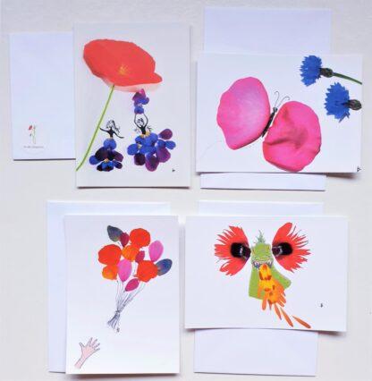 ansichtkaart postcard flowerpetals flowers bloemen vlinder butterfly meisjes girls dragon draak ballonnen balloons