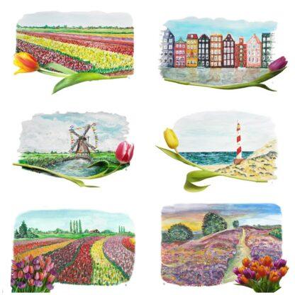typical dutch ansichtkaart tulpen tulip holland postcard tulips windmill lighthouse bulbfields bollenvelden vuurtoren molen amsterdam